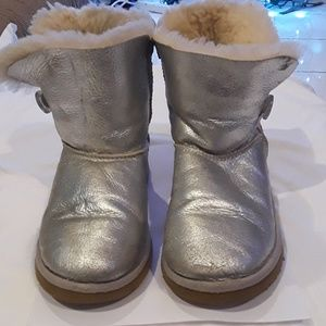 UGG silver leather booties, size 4